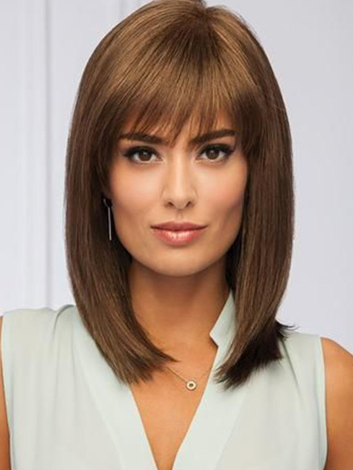 Women's Medium Hairstyles Straight Brown Synthetic Hair Wigs Capless Wigs 14Inches