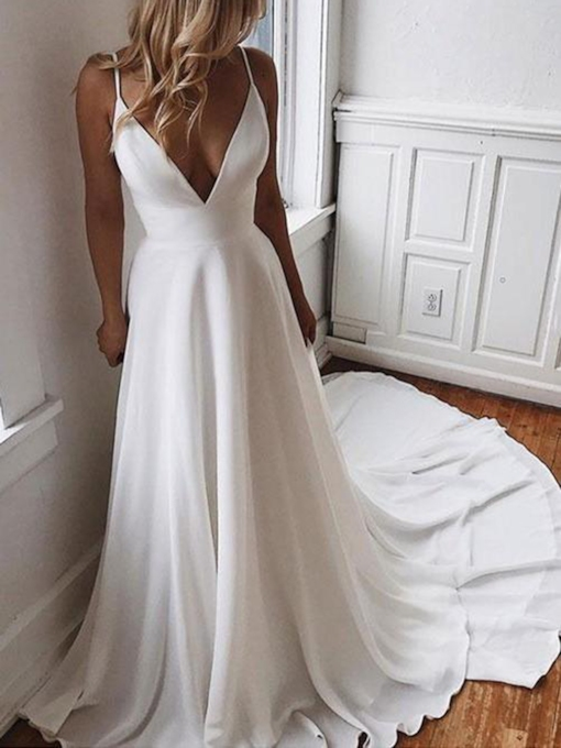 Spaghetti Straps Appliques Beading Beach Wedding Dress