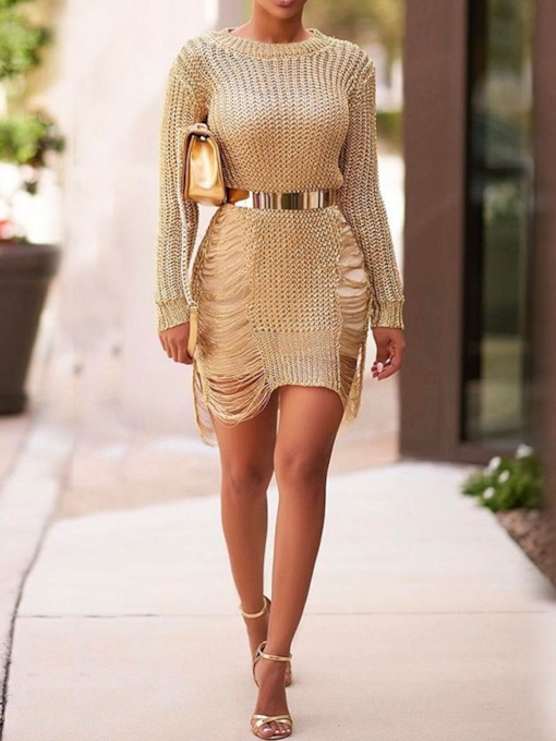 Hollow Round Neck Long Sleeve Women's Sweater Dress