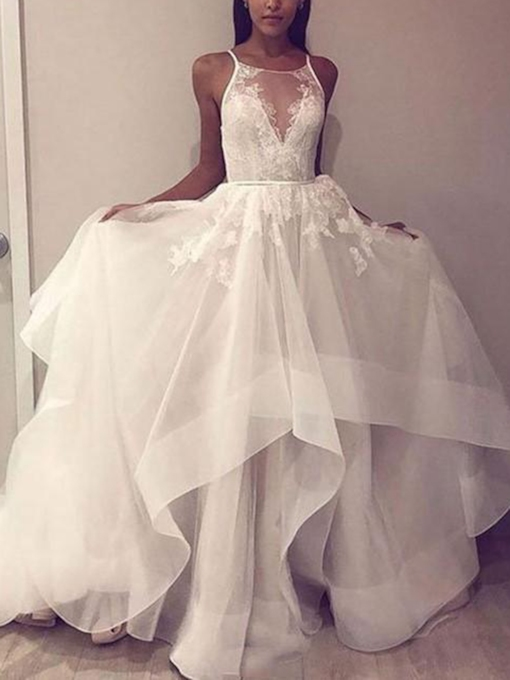 Spaghetti Straps Tiered Appliques Wedding Dress 2019
