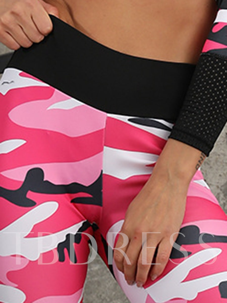 Camouflage Print Breathable Women's Workout Set
