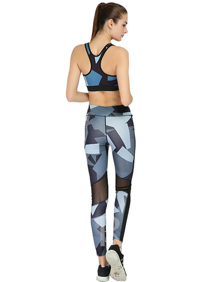 Color Block Breathable Print Sleeveless Women's Sportwear 2 Pieces