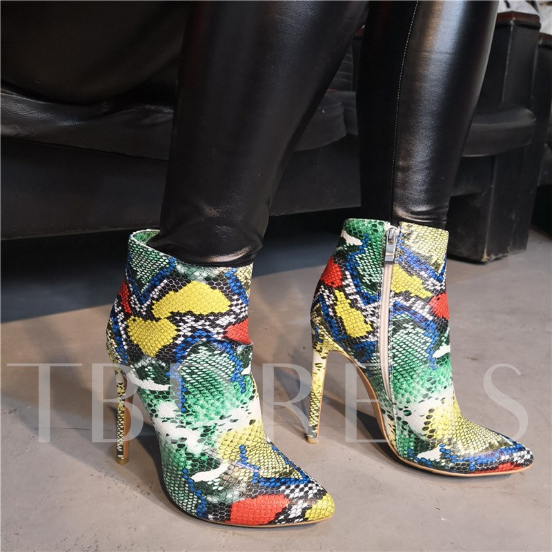 Customized Side Zipper Pointed Toe Serpentine Ankle Boots