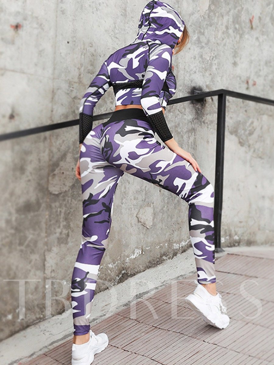 Camouflage Print Breathable Long Sleeves Women's Workout Set