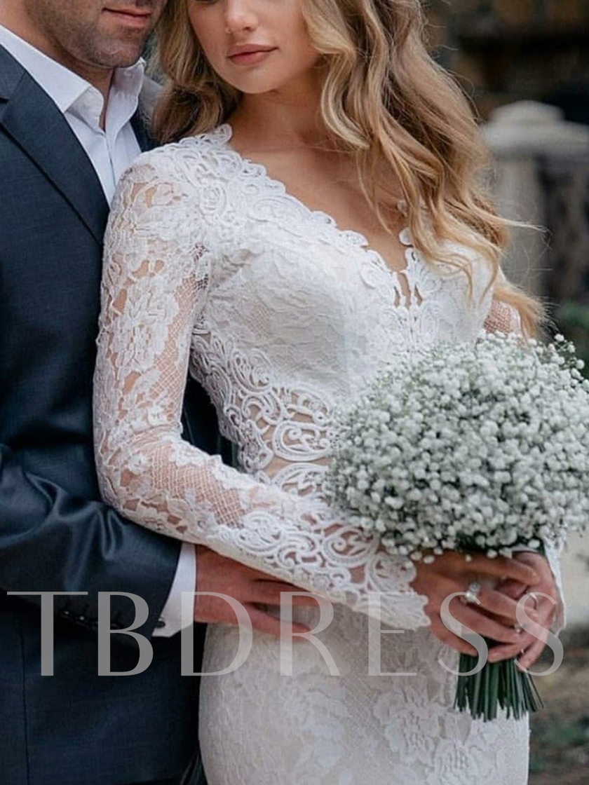 Long Sleeves V-Neck Appliques Lace Wedding Dress 2019