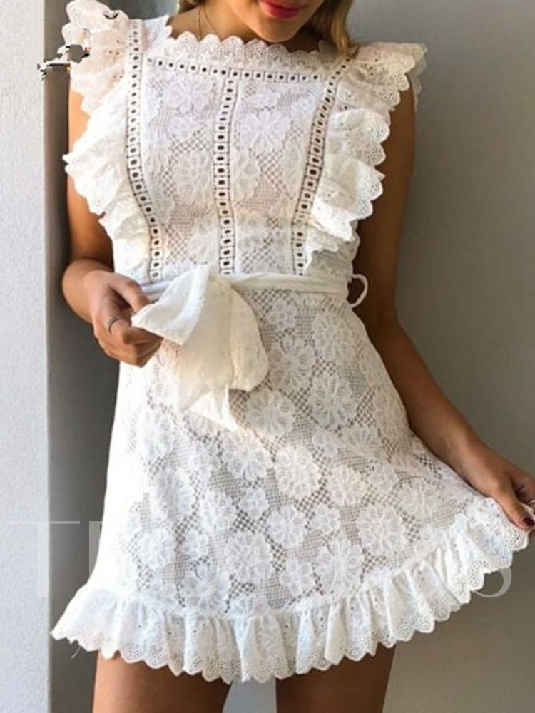Cap Sleeve Square Neck Lace Mid Waist Women's Day Dress