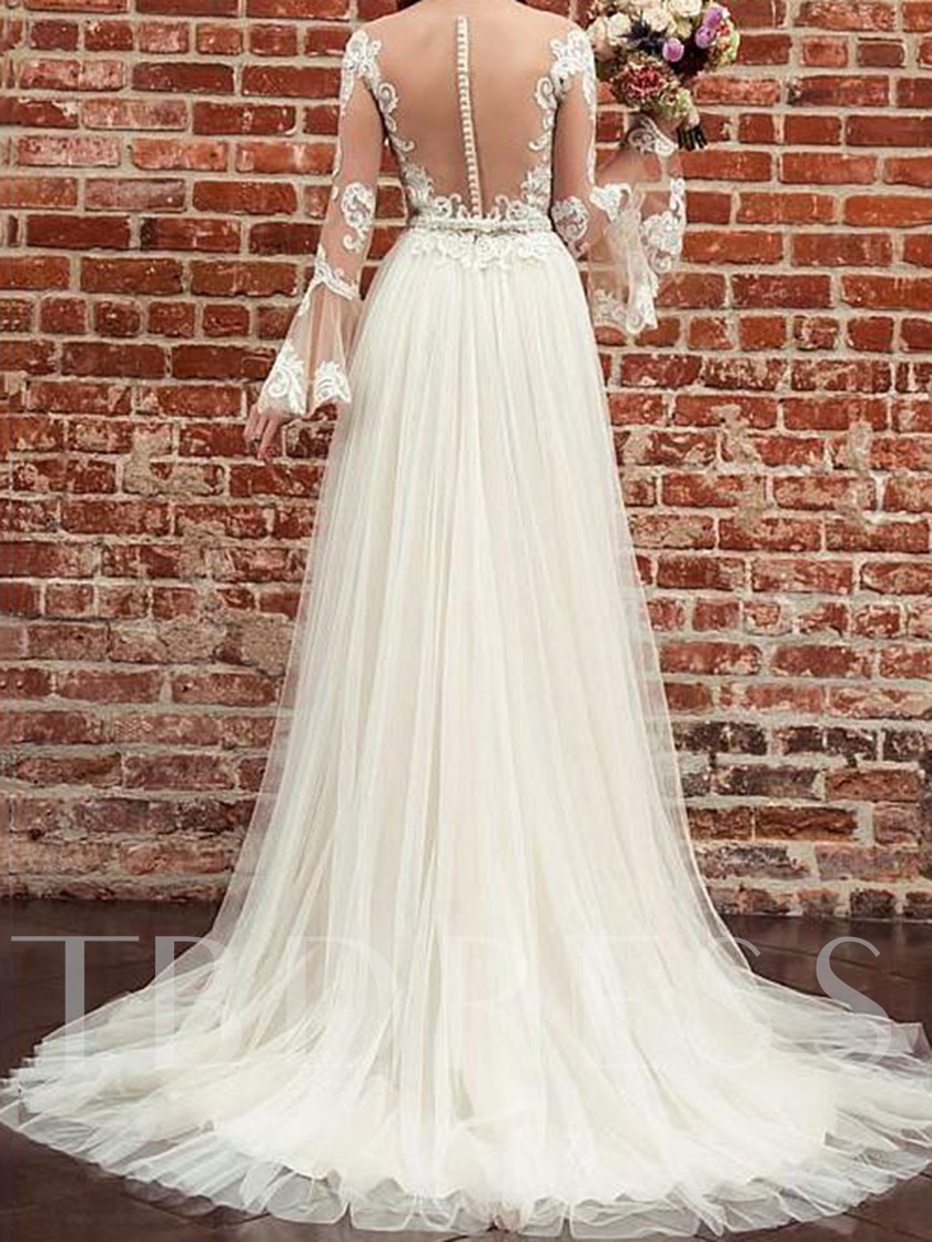 Appliques Beading Long Sleeve Wedding Dress 2019