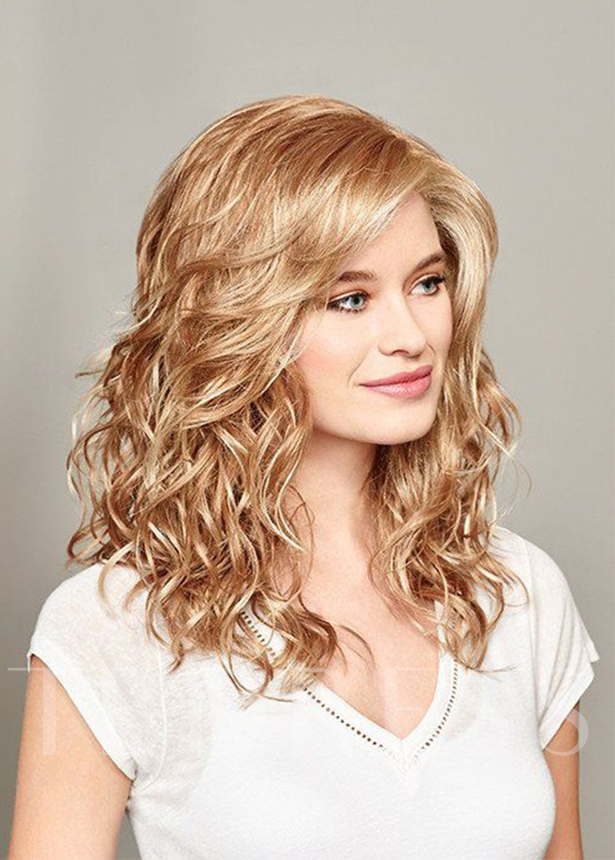 Sexy Women's Middle Length Loose Wave Human Hair Wigs Lace Front Wigs 20Inches