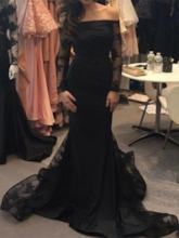 Off the Shoulder Lace Long Sleeves Evening Dress 2019