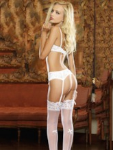 Bowknot Lace Sexy Bra Panty Garter Belt 3 Pieces