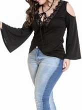 Plus Size Long Sleeve V-Neck Plain Standard Fashion Women's T-Shirt