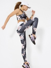 Floral Print Quick Dry Sleeveless Women's Sportwear Set