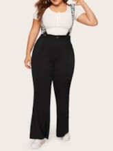 Plus Size Letter Full Length Strap Casual Straight Women's Jumpsuit