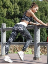 Breathable Print Color Block Running Women's Workout 2 Pieces