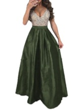 V-Neck Sleeveless Sequins Summer Women's Maxi Dress