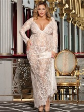 V-Neck Floral See-Through Long Sleeve Lace Dresse