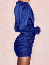 Pleated Stand Collar Long Sleeve Women's Bodycon Dress
