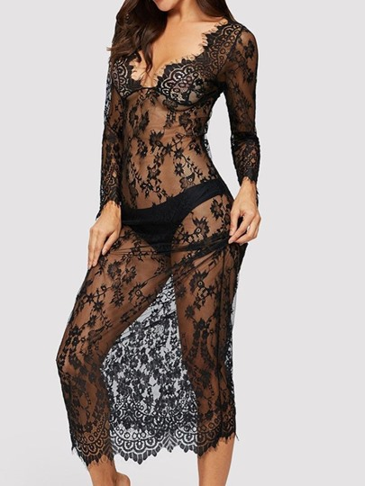 V-Neck See-Through Lace Long Sleeve Sexy Dresse V-Neck See-Through Lace Long Sleeve Sexy Dresse