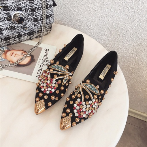 Pointed Toe Beads Slip-On Low Heel Women's Flats