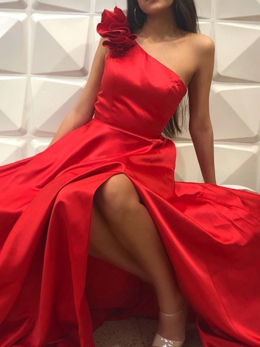 A-Line Floor-Length One Shoulder Sleeveless Prom Dress 2019