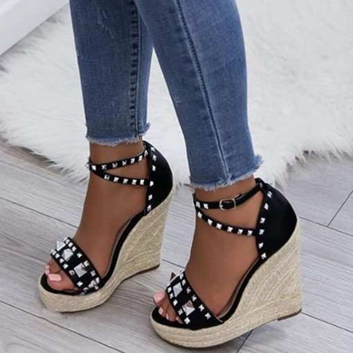 Wedge Heel Heel Covering Open Toe Buckle Espadrille Sandals