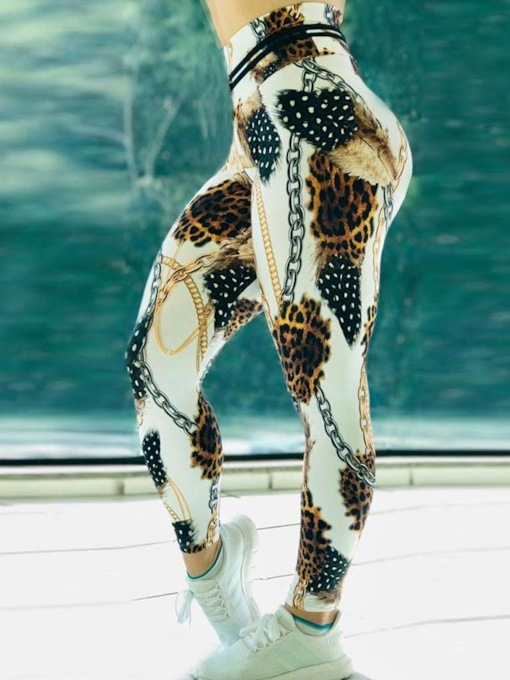Chain Leopard Print Color Block High Waist Women's Leggings