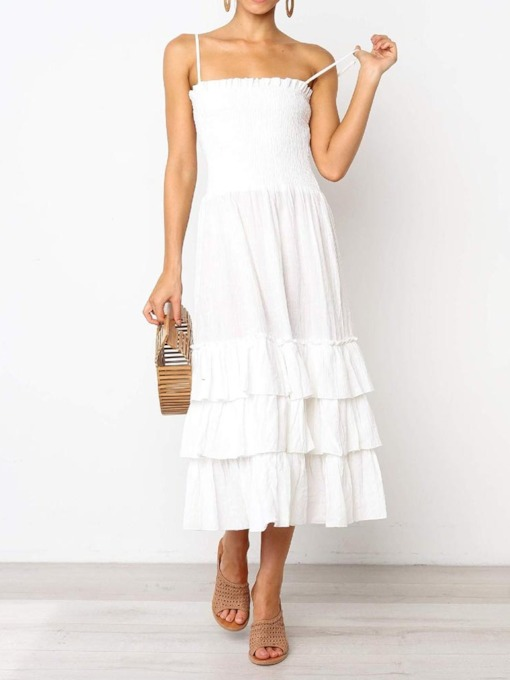 Pleated Mid-Calf Sleeveless Pullover Women's Maxi Dress