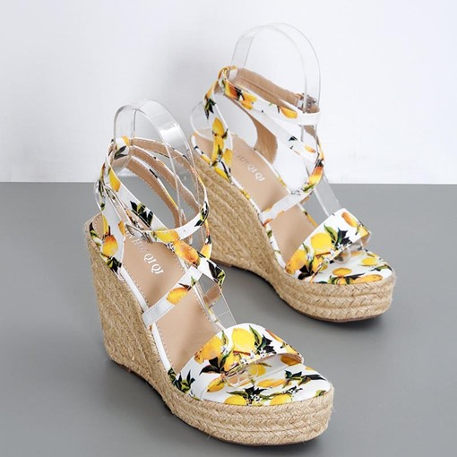 Strappy Wedge Heel Buckle Open Toe Espadrille Sandals