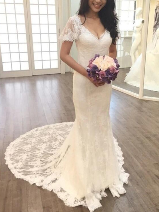 Short Sleeves Lace Mermaid Court Train Wedding Dress 2019