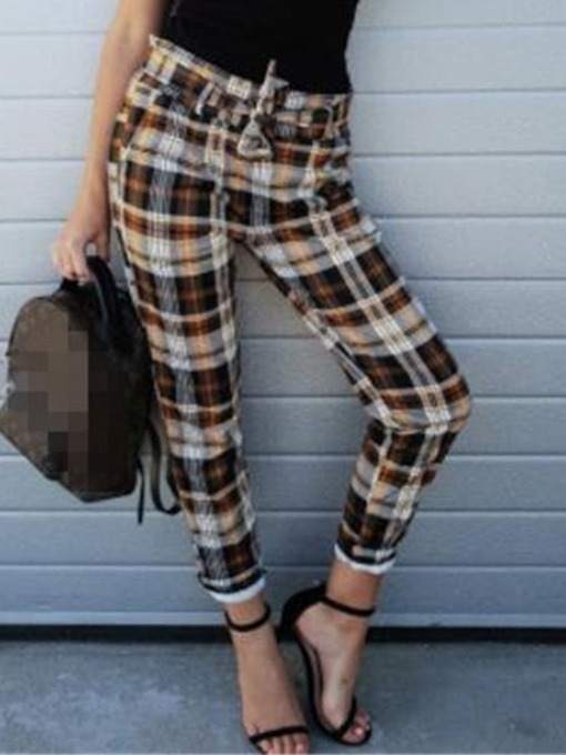 Slim Print Plaid Harem Pants Women's Casual Pants
