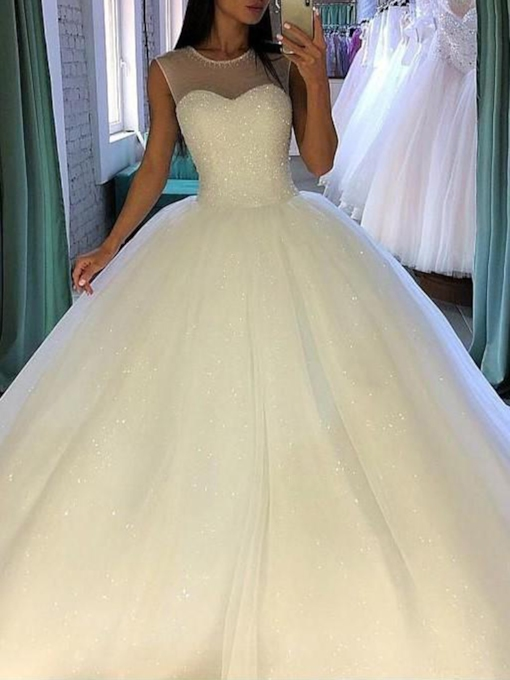 Scoop Neck Sequins Beading Ball Gown Wedding Dress 2019