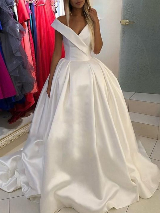 Off the Shoulder V-Neck Ball Gown Hall Wedding Dress 2019