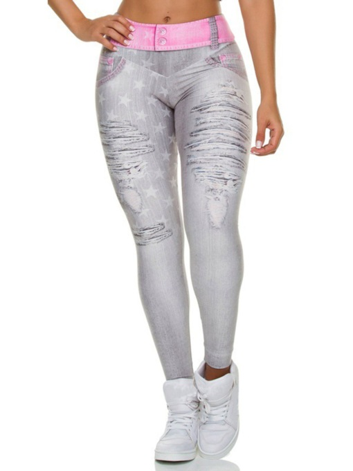 Shredded Jeans Print Breathable High Waist Shaping Women's Leggings