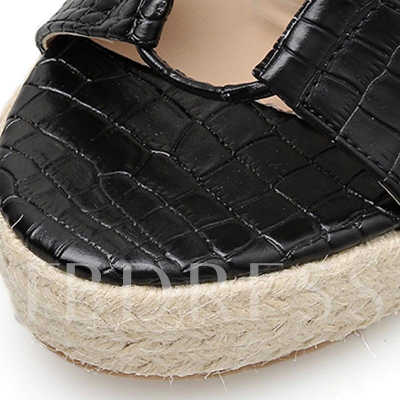 Open Toe Lace-Up Wedge Heel Espadrille Sandals