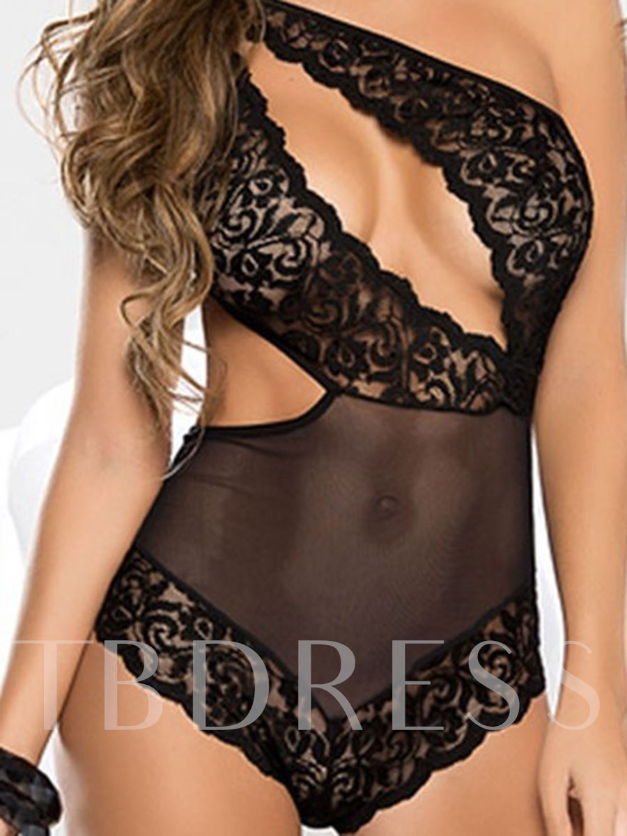 Lace See-Through One Shoulder Sleeveless Tight Wrap Teddy