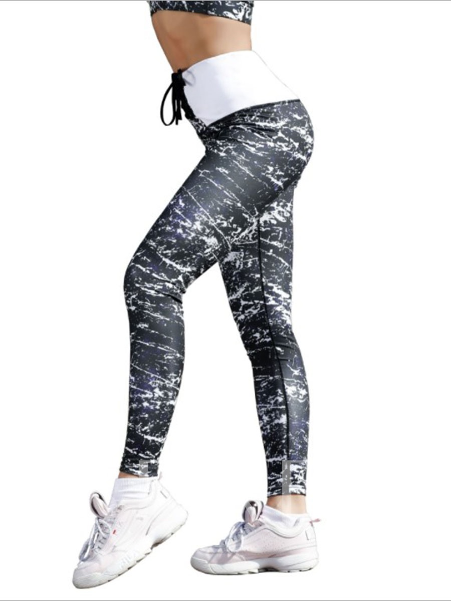 Breathable Print Color Block Wemen's Leggings