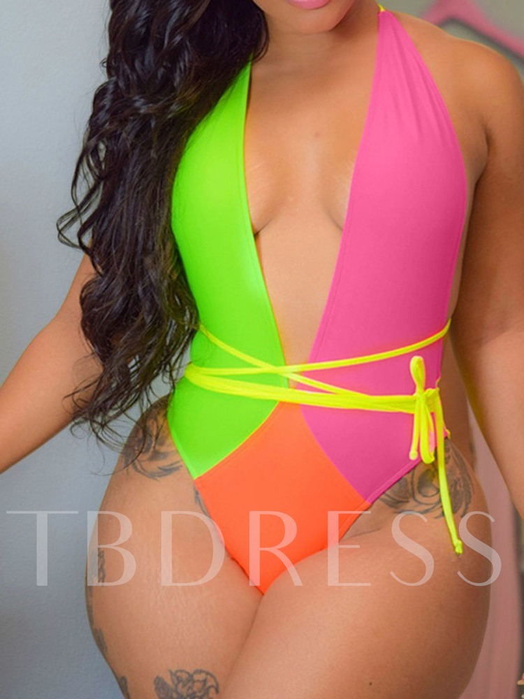Lace-Up One Piece Sexy Color Block Women's Swimwear