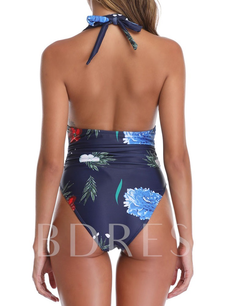 Print One Piece Beach Look Color Block Women's Swimwear