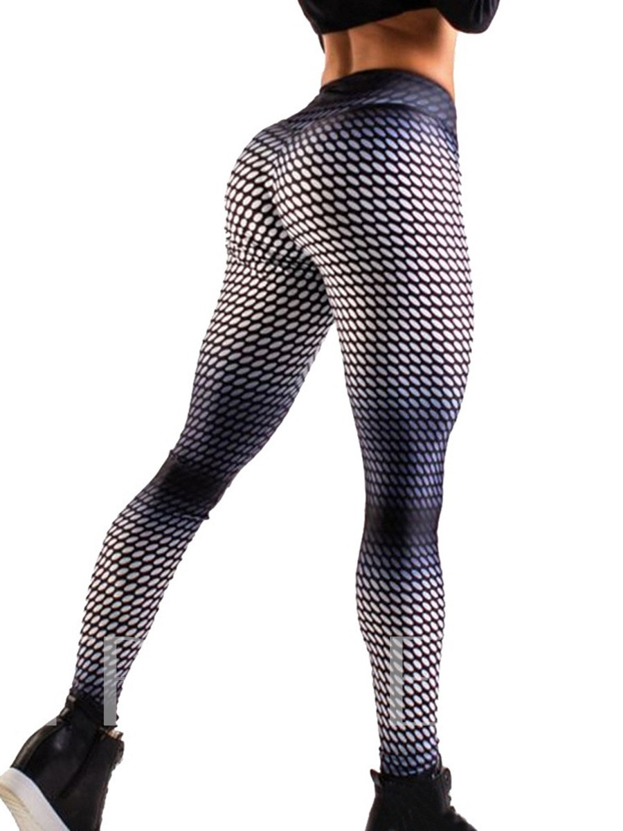 Geometric Honeycomb Breathable High Waist Women's Leggings
