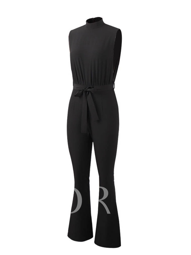 Full Length Plain Casual Lace-Up Loose Women's Jumpsuit