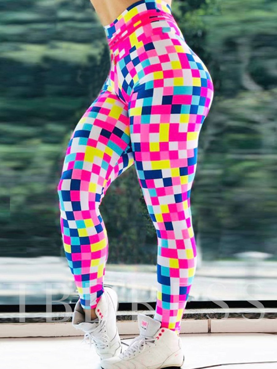 Mosaic Print Breathable Color Block High Waist Women's Leggings