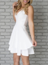 A-Line Short Lace Sleeveless Homecoming Dress 2019