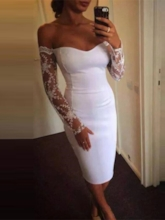 Tea-Length Lace Long Sleeves Off-The-Shoulder Homecoming Dress 2019