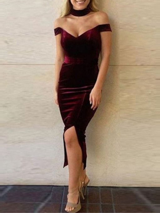 Off-The-Shoulder Tea-Length Sheath Split-Front Homecoming Dress 2019
