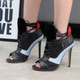 Cross Strap Stiletto Heel Peep Toe Lace-Up Color Block Sandal Boots
