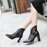 Pointed Toe Chunky Heel Color Block Back Zip Hollow Ankle Boots