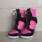 Customized Round Toe Lace-Up Front Color Block Women's Ankle Boots
