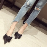 Closed Toe Rhinestone Stiletto Heel Slip-On Women's Sandals