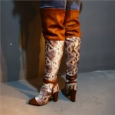 Customized Pointed Toe Side Zipper Vintage Knee High Boots