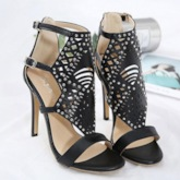 Open Toe Stiletto Heel Buckle Heel Covering Rivet Sandals